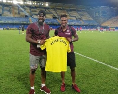 Peter Okoye Meets Chukwueze After Saturday's La Liga Opener