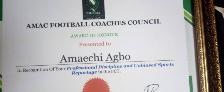 Best Choice Sports Receives Award Of Unbiased Sports Reportage In Abuja