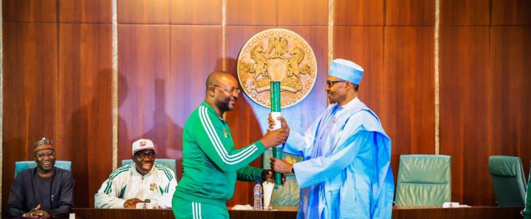 2020 NSF Gets Presidential Support As Buhari Recieve Unity Torch, Commends Sports Minister