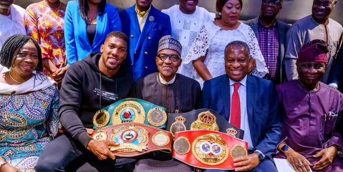 Anthony Joshua Presents Belts To President Buhari In London,  prostrates In Deference