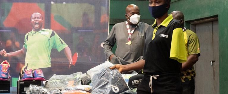 Africa Best Tennis Player, Aruna Quadri donates training gear to Paralympians