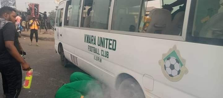 Again, Another NPFL Club, Kwara United's Bus   Catches Fire In Asaba