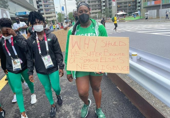 Disqualification: Nigeria Athletes Protest In Tokyo Over AFN, NOC, Sports Ministry's Negligence